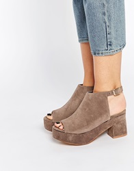 Daisy Street Platform Cut Out Ankle Boots Grey