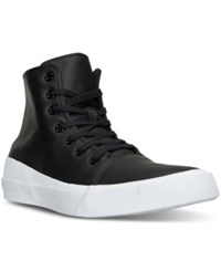 Converse Men's Chuck Taylor All Star Quantum Leather High Top Casual Sneakers From Finish Line Black White Volt