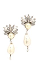 Erickson Beamon Glass Pearl Drop Earrings Pearl Clear