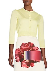 Carolina Herrera Cropped Silk And Cashmere Cardigan Bright Yellow