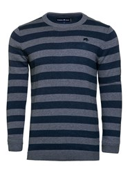 Raging Bull Men's Stripe Crew Neck Knit Navy