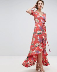 Asos Maxi Tea Dress With Ruffle Detail In Floral Print Multi