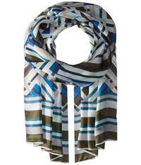 Vince Camuto Fractured Geo Oblong Poseidon Scarves Black