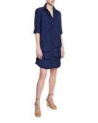 Finley Jenna Button Front Roll Tab Tiered Ruffle Shirtdress Plus Size Navy