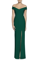 Dessy Collection Off The Shoulder Crossback Gown Hunter