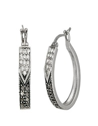 Lord And Taylor Sterling Silver And Marcasite Hoop Earrings