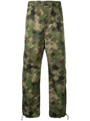 White Mountaineering Original Mosaic Camouflage Print Trousers Green