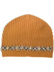 Semicouture Crystal Detail Beanie Yellow And Orange
