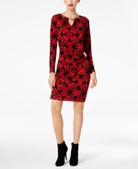 Thalia Sodi Embellished Faux Wrap Dress Created For Macy's Lipstick Red Combo