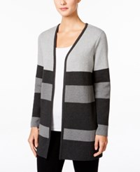 Charter Club Petite Striped Open Front Cardigan Only At Macy's Black Ice Heather Combo