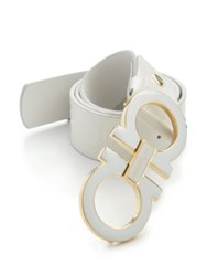 Salvatore Ferragamo Gancini Leather Belt White