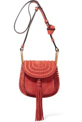 Chloe Hudson Mini Whipstitched Suede Shoulder Bag Red
