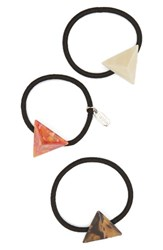 Tasha Set Of Three Pyramid Charm Ponytail Holders Red Multi