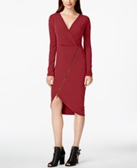 Rachel Roy Asymmetrical Zip Jersey Dress Red