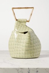 Cult Gaia Astraea Mini Croc Effect Leather Tote Green