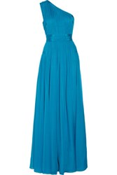 Diane Von Furstenberg Ophelia One Shoulder Ruched Silk Gown Turquoise