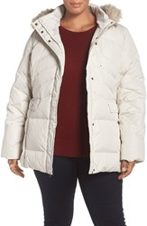 Larry Levine Plus Size Women's Puffer Coat With Faux Fur Trim