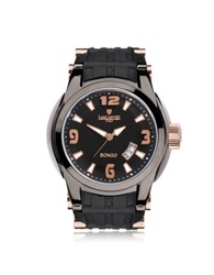 Lancaster Bongo Tempo Men's Stainless Steel Watch W Black Rubber Strap