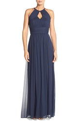 Dessy Collection Ruched Chiffon Keyhole Halter Gown Midnight