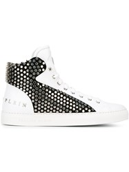 Philipp Plein 'Richy' Studded Hi Top Sneakers White