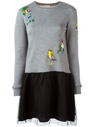 Red Valentino Sequined Bird Sweater Dress Grey