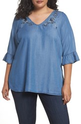Evans Plus Size Women's Embroidered Chambray Top Navy