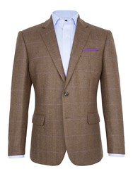 Paul Costelloe George Check Wool Blazer Brown