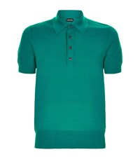 Tom Ford Textured Cotton Polo Shirt Male Teal