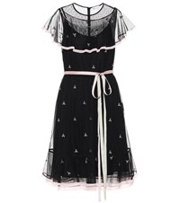 Red Valentino Embroidered Minidress Black