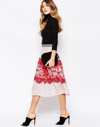 Traffic People Greek Gods Maxi Skirt In Border Print Red