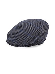 Saks Fifth Avenue Woolen Newsboy Cap Charcoal Plaid