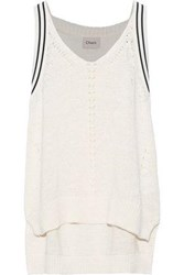 Charli Woman Tansy Open Knit Trimmed Cotton Blend Sweater Ivory