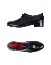 Pas De Rouge Lace Up Shoes Black