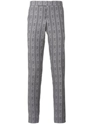 Thom Browne Anchor Print Striped Trousers Grey