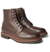 Brunello Cucinelli Full Grain Leather Wingtip Brogue Boots Brown