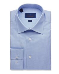 David Donahue Trim Fit Geometric Pattern Dress Shirt White Blue