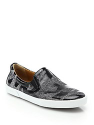 Jimmy Choo Glitter And Patent Leather Camo Demi Skate Shoes Grey