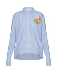 A.W.A.K.E. Last Christmas Banker Striped Long Sleeved Shirt Light Blue