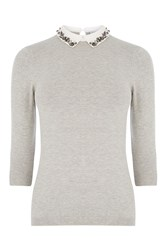 Warehouse Embellished Collar Jumper Light Grey