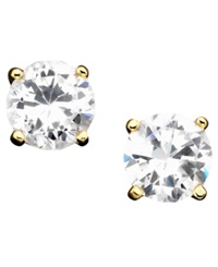 B. Brilliant 18K Gold Over Sterling Silver Earrings Cubic Zirconia Stud 2 Ct. T.W.