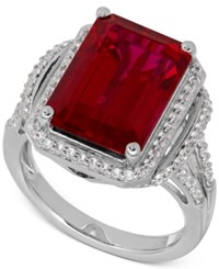 Macy's Lab Created Ruby 10 1 5 Ct. T.W. White Sapphire 3 8 Ct. T.W. Ring In Sterling Silver