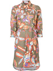 Peter Pilotto Batik Print Shirt Dress Women Cotton Spandex Elastane 10 Green