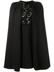 Giambattista Valli Macrame Lace Cape Dress Black