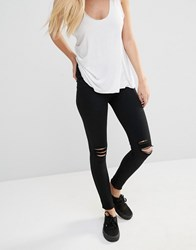 Dr. Denim Dr Denim Lexy Mid Rise Second Skin Super Skinny Ripped Knee Jeans Black