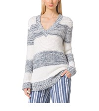 Michael Michael Kors Striped Cotton Blend V Neck Sweater