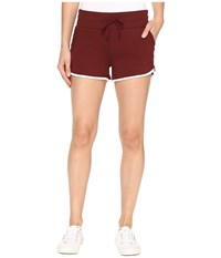 Alternative Apparel Vintage Sport French Terry Track Shorts Maroon White Women's Shorts Burgundy