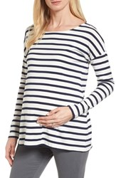 Isabella Oliver Caia Stripe Maternity Top Navy White Stripe