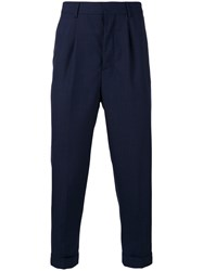 Ami Alexandre Mattiussi Tapered Cropped Trousers Men Polyester Wool 38 Blue