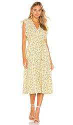 1.State 1. State Blossom Cluster Flounce Sleeve Wrap Dress In Yellow. Honeysuckle