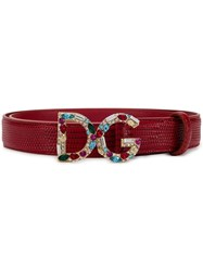 Dolce And Gabbana Bejeweled Dg Buckle Belt Red